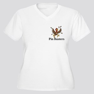 Pin Busters Logo 14 Women's Plus Size V-Neck T-Shi