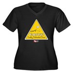 Distracted Women's Plus Size V-Neck Dark T-Shirt
