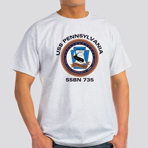 USS Pennsylvania SSBN 735 Ash Grey T-Shirt