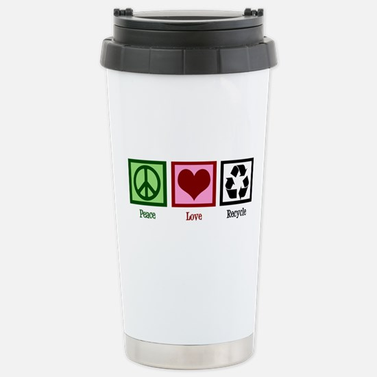 Peace Love Recycle Stainless Steel Travel Mug