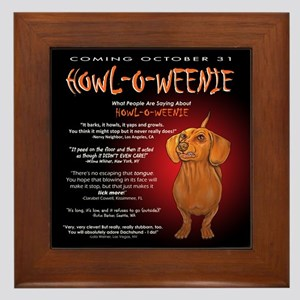Scary Howl-O-Weenie Framed Tile