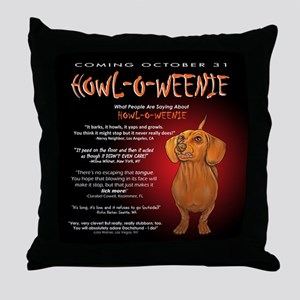 Scary Howl-O-Weenie Throw Pillow