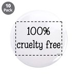 """100% Cruelty Free 3.5"""" Button (10 pack)"""