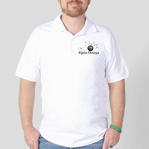 Apha Omega Logo 6 Golf Shirt Design Front Pocket a
