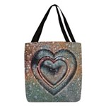 Two Hearts Beat as One Polyester Tote Bag