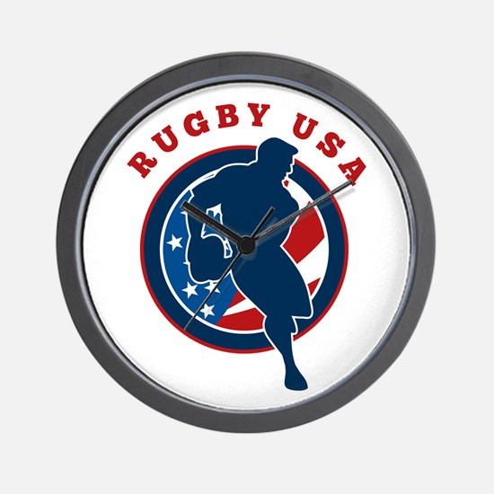 Rugby USA Wall Clock