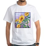 Sunny Sunflowers Watercolor White T-Shirt
