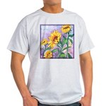 Sunny Sunflowers Watercolor Ash Grey T-Shirt