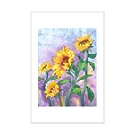 Sunny Sunflowers Watercolor Mini Poster Print