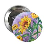 Sunny Sunflowers Watercolor Button
