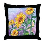 Sunny Sunflowers Watercolor Throw Pillow