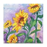 Sunny Sunflowers Watercolor Tile Coaster
