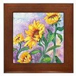 Sunny Sunflowers Watercolor Framed Tile