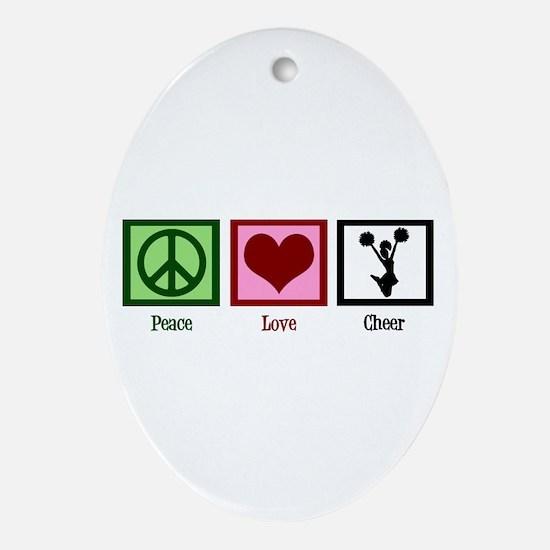 Peace Love Cheer Ornament (Oval)