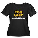 Too Lazy Women's Plus Size Scoop Neck Dark T-Shirt