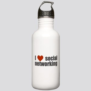 I Love Social Networking Stainless Water Bottle 1.