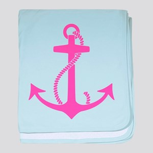 Pink Anchor baby blanket