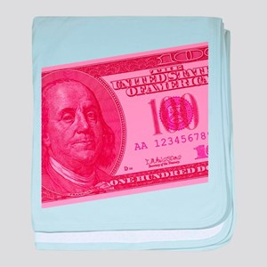Pink Hundred Dollar Bill Infant Blanket