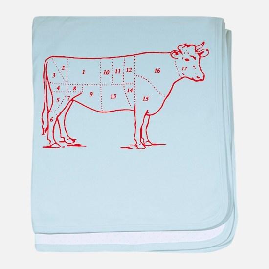 Retro Beef Cut Chart Infant Blanket