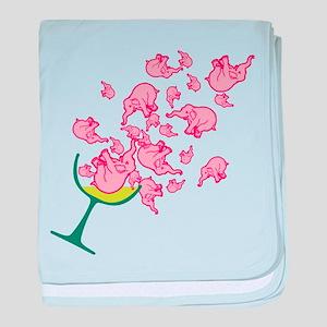 Glass of Pink Elephants Infant Blanket