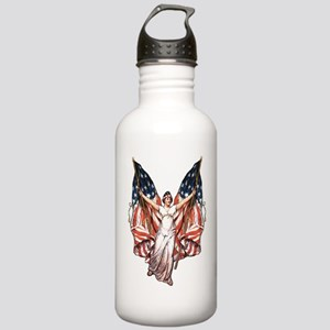 Vintage American Flag Art Stainless Water Bottle 1