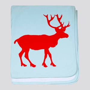 Red And White Reindeer Motif Infant Blanket