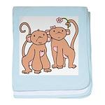 Cute Monkey Couple Infant Blanket