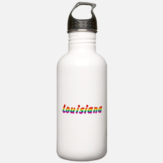 Rainbow Louisiana Text Sports Water Bottle