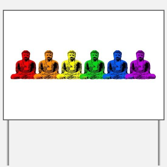 Row of Rainbow Buddha Statues Yard Sign