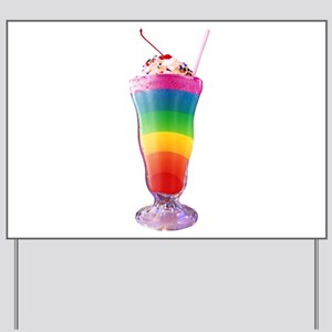 Rainbow Stripe Milkshake Yard Sign
