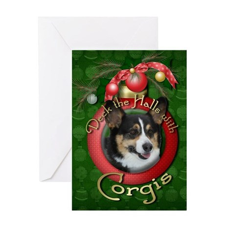 Christmas - Deck the Halls - Corgis Greeting Card