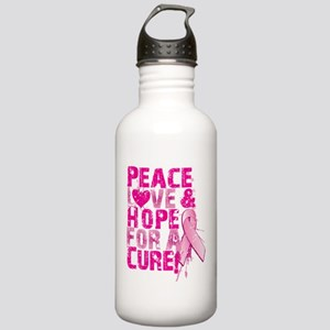 Peace, Love & Hope for a cure Stainless Water Bott