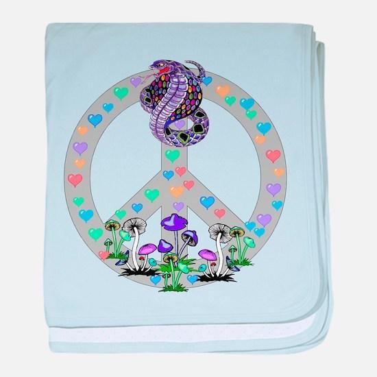 Peace Symbol Snake baby blanket