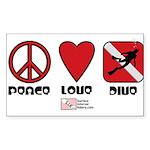 Peace Love Sticker (Rectangle 50 pk)