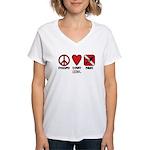 Peace Love Women's V-Neck T-Shirt