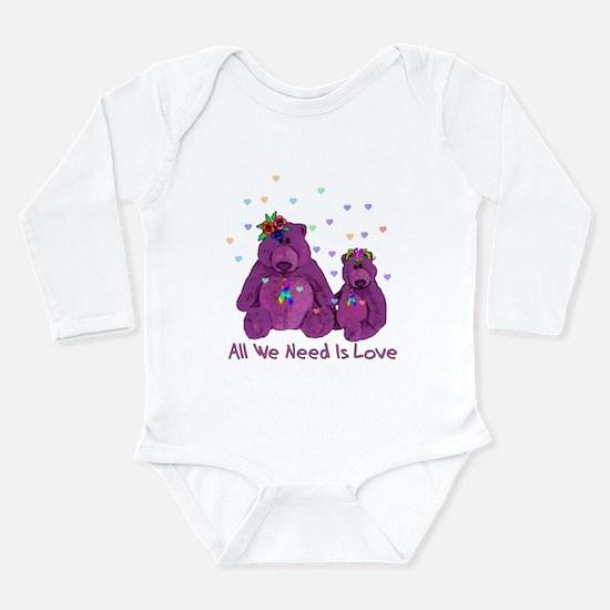 Purple Love Bears Long Sleeve Infant Bodysuit
