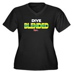 Dive Blended Women's Plus Size V-Neck Dark T-Shirt