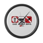 Eat Sleep Dive Large Wall Clock
