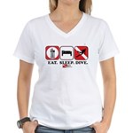 Eat Sleep Dive Women's V-Neck T-Shirt