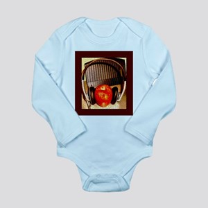 Red Apple With Headphones Long Sleeve Infant Bodys