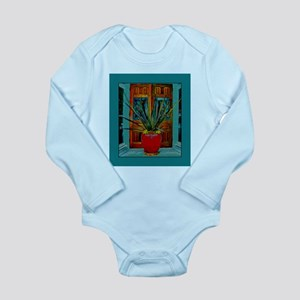 Red Vase With Plant Long Sleeve Infant Bodysuit
