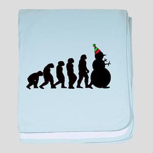 Evolution of Snowman baby blanket