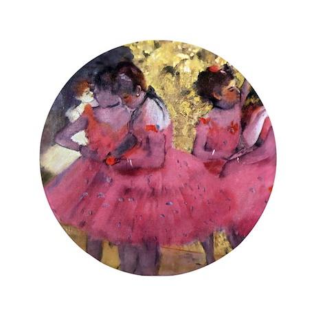 """Degas Ballerinas in Red 3.5"""" Button"""