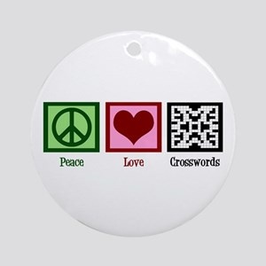 Peace Love Crosswords Ornament (Round)
