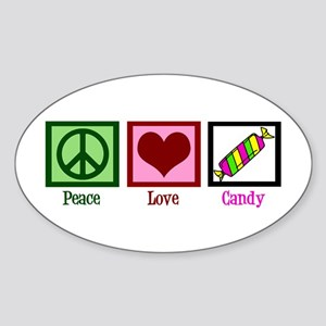 Peace Love Candy Sticker (Oval)