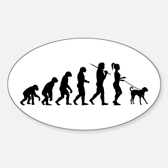 Girl Dog Walker Sticker (Oval)