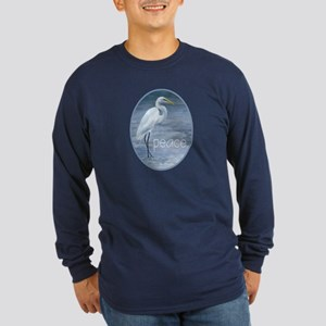 snowy egret Long Sleeve Dark T-Shirt