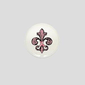 Pink Fleur Ribbon Mini Button