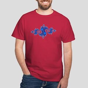 Blue Crest Fractal Black T-Shirt