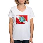 DiveWorld Flag Women's V-Neck T-Shirt